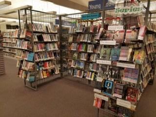 Teen books on wire book racks.