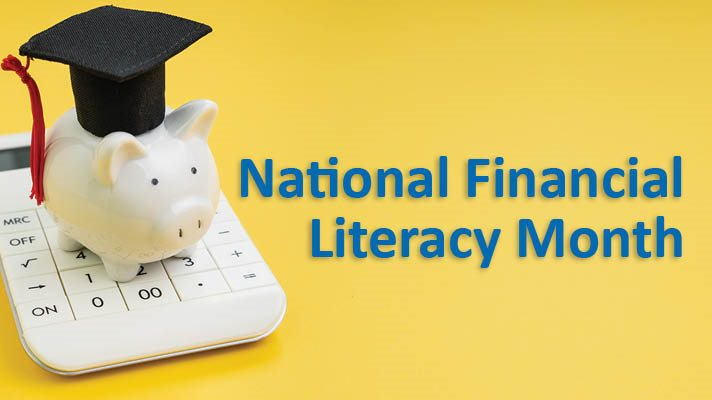An image of a white ceramic piggy bank wearing a graduation hat on the left, National Financial Literacy Month in blue text on the right.