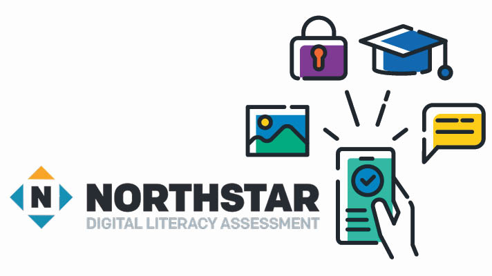 Northstar Digital Literacy Assessment text with illustration of a hand holding a cell phone, surrounded by illustrations of a graduation cap, a briefcase, a map and text box.