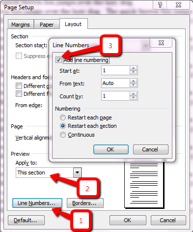 Add Line Numbers Dialog Box