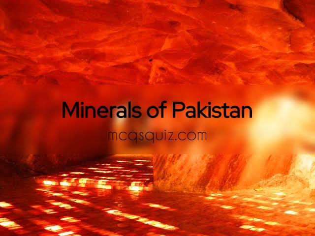 Minerals of Pakistan Mcqs