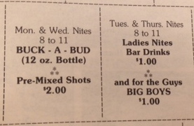 Coupons for a bar called Dorney and Malones offered coupons in The Quadrangle. Courtesy of the archives.