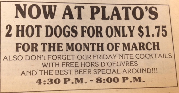 In 1984 you could buy a hot dog and a beer in Platos, which is now Cafe 1853. Courtesy of the archives.