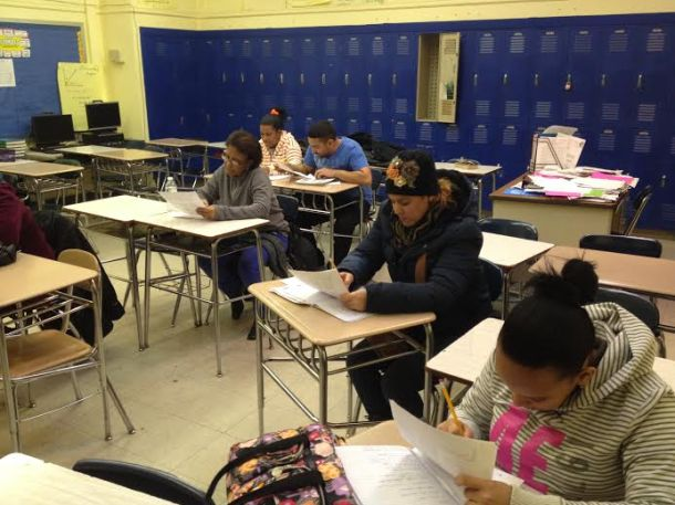 Students in the beginner ESOL class are taught basic words and phrases. Photo by Daniel Wallace.