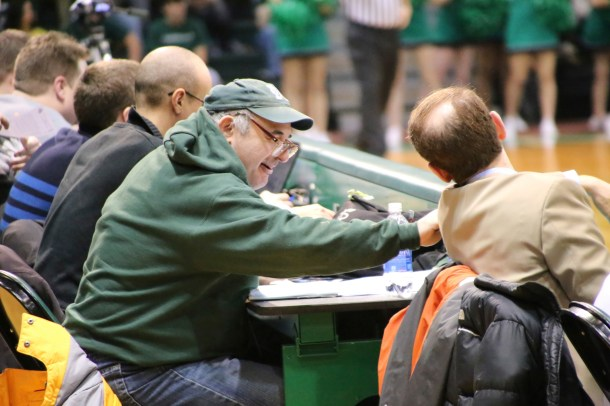 After Athletic Director Bob Byrnes invited Ronnie Weintraub to a Manhattan basketball game, Ronnie fell in love.  Nearly 25 years later, Ronnie still attends nearly every basketball game. Photo taken by James O'Connor.