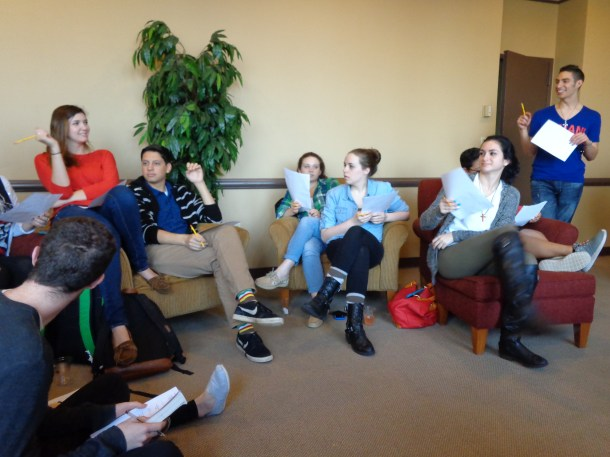 Students participate in the first meeting of Manhattan College's LGBT Friends and Allies. Photo by Claire Leaden
