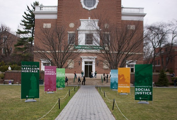 Decorations and signs line the quad for Accepted Students Day. Photo by James O'Connor