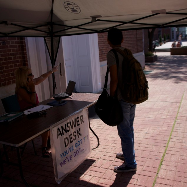 For those new to the campus, week one also brings back the answer desk, helping everyone from new students to new administration get where they need.