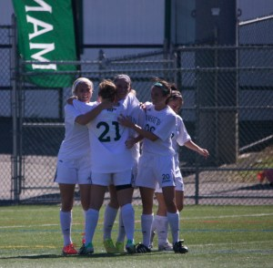The women's soccer team is feeling good. After a win against Marist, they sit atop the MAAC standings early in the season. Photo taken by James O'Connor.