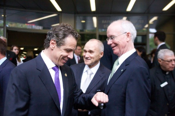 New York State Gov. Andrew Cuomo, Raymond Kelly '63 and President Brennan O'Donnell at the student commons dedication ceremony. Photo by James O'Connor.
