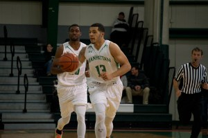 Emmy Andujar started at point guard against LIU Post, a new position for him. Photo by Kevin Fuhrmann.