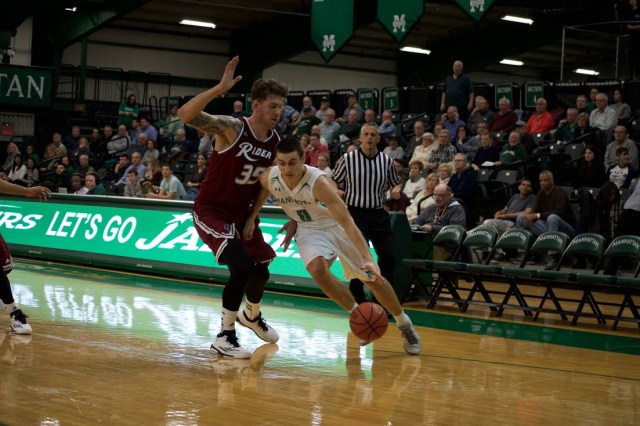 Shane Richards scored 21 points to go along with five rebounds in the Jaspers' loss. Photo taken by Kevin Fuhrmann.