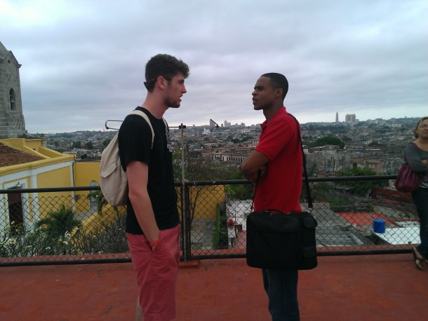 A Manhattan College student studying in Cuba meets a Cuban student.  Laura Redruello/Courtesy