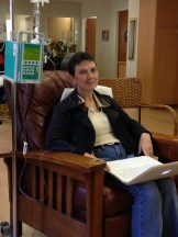 Patti getting her second round of chemo. Each session takes between four and five hours.