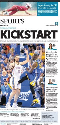 The-Oklahoman-Front-Page-For-Monday-KickStart