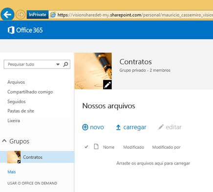 Arquivos do Grupo de Colaboração no OneDrive for Business