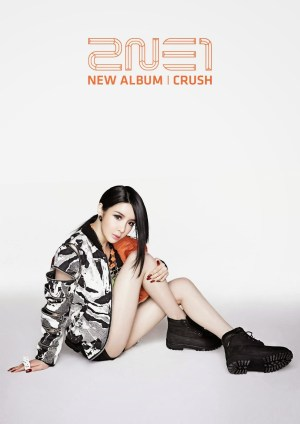 """Bom's promotional poster for 2NE1's latest album, """"Crush,"""" and the album's single, """"Come Back Home"""""""