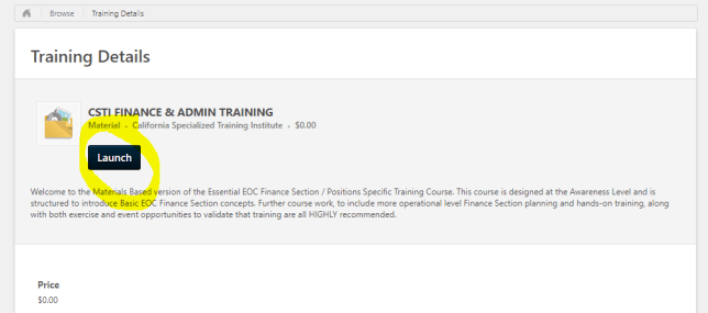 Training details section. Launch button highlighted.