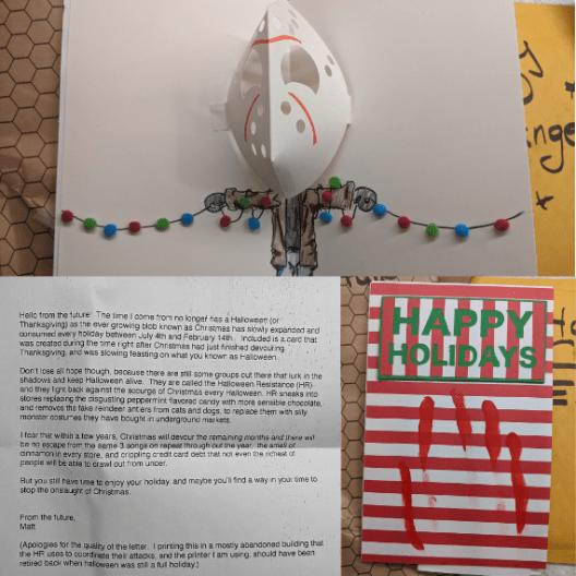 Halloween/Christmas mashup mail-art