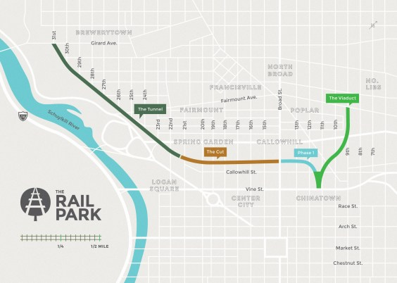 Map of the Three Mile Vision for the Rail Park, extending from Northern Liberties to Brewerytown. The map highlights four different sections: The Viaduct, Phase One, The Cut, and The Tunnel