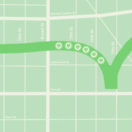 Map of Phase One - extending  Broad and Noble Street to between 11th and 12th and Callowhill Streets