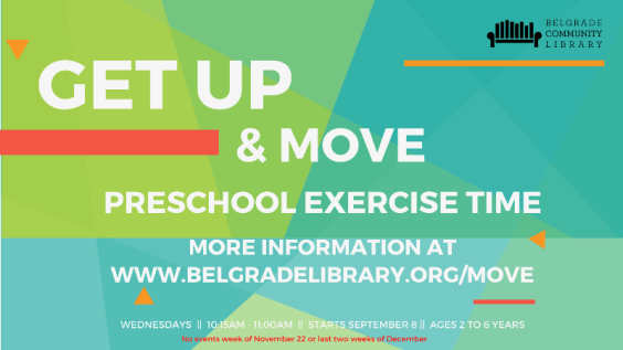 Get Up and Move preschool exercise time every Wednesday at 10:15 AM