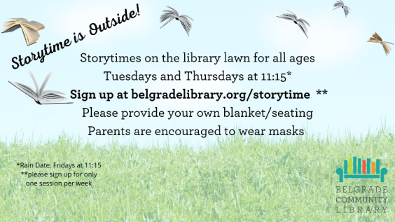 Storytime Tuesdays and Thursdays. Registration required.