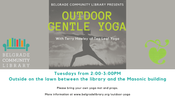 Outdoor Yoga every Tuesday on the library lawn