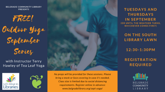 September Outdoor Yoga. Registration required.