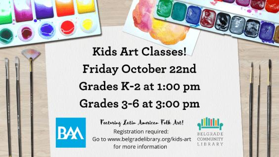 Kids Art Classes Friday October 22nd