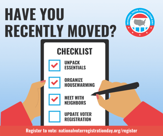 Recently Moved? Make sure you register to vote!