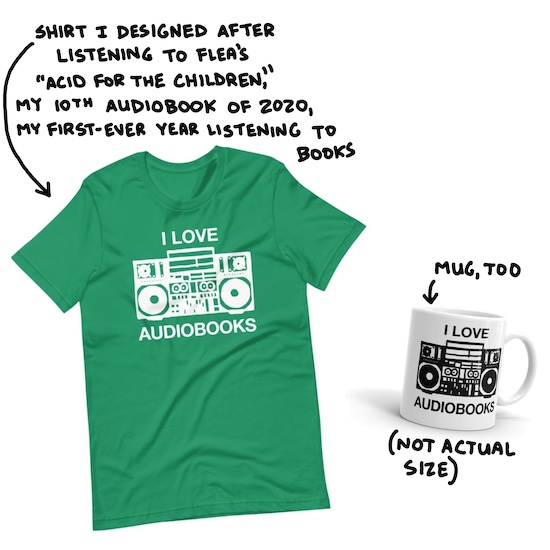 I love audiobooks t-shirt and mug
