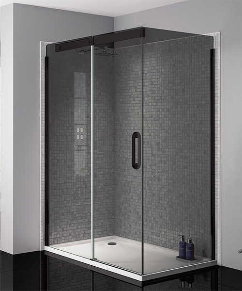April Prestige Frameless 1200mm Smoked Black Sliding Shower Door