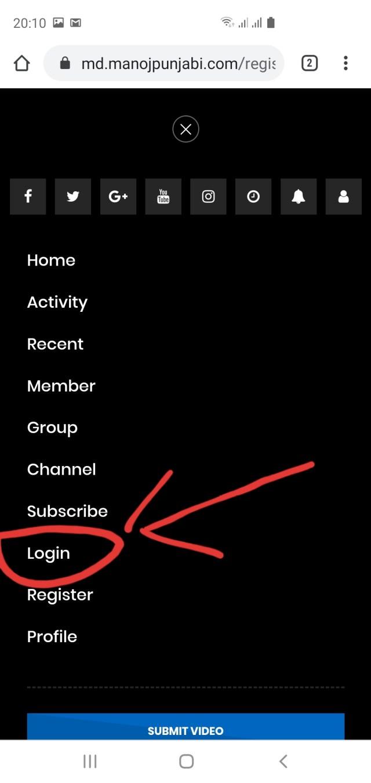 5. Klik menu login