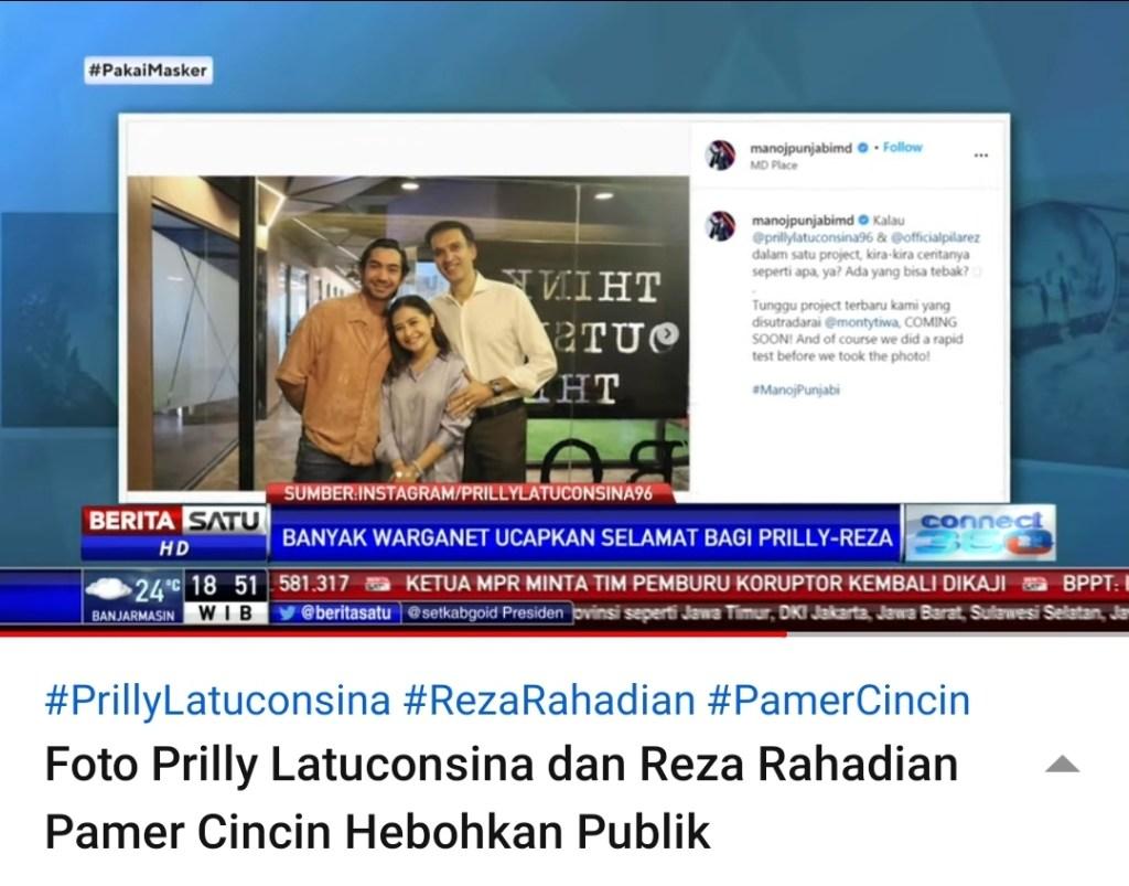 Heboh Reza Rahadian dan Prilly Latuconsina, Media Mencari Jawaban Melalui Instagram Manoj Punjabi