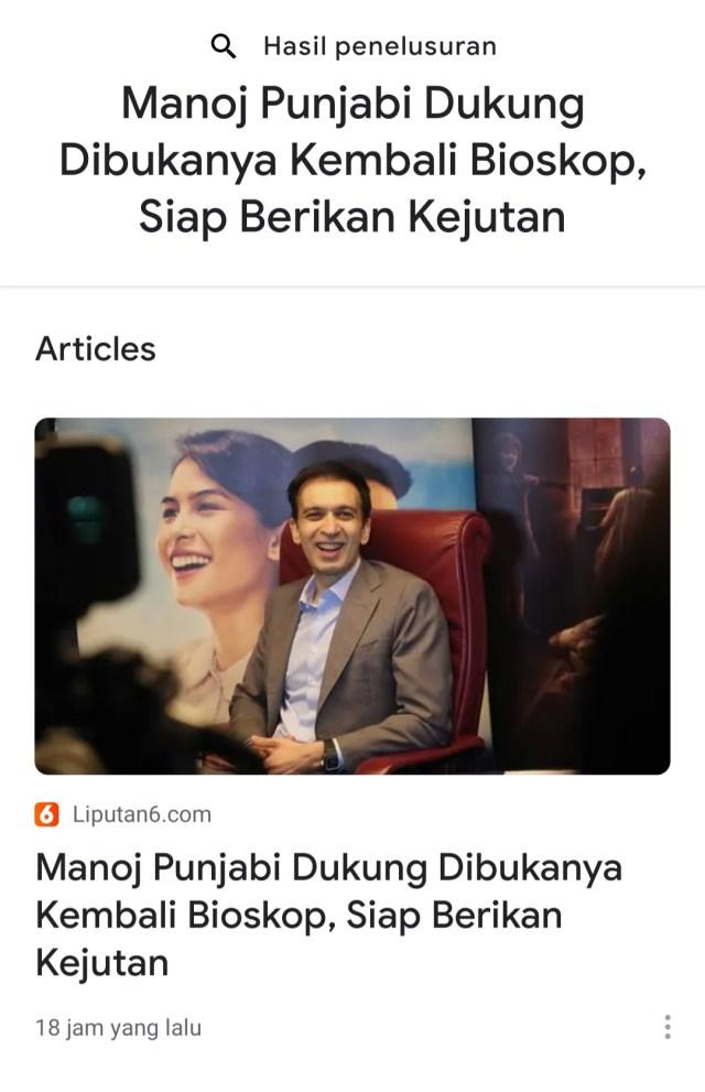 Manoj Punjabi Dukung Dibukanya Kembali Bioskop, Siap Berikan Kejutan -liputan6.com