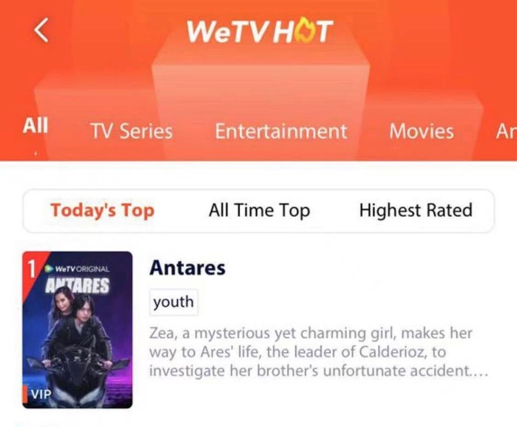 OHOYYYY! ANTARES is trending #1 on We TV Indonesia!