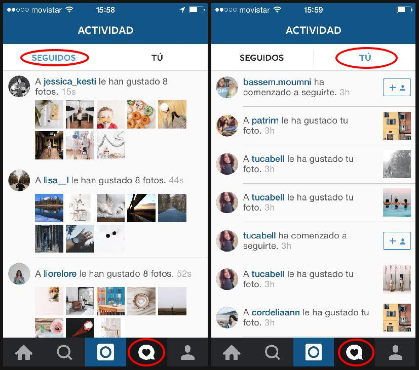 Botón corazón en Instagram para seguir a otras personas y ver los seguidores