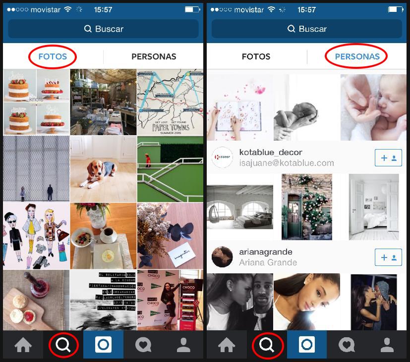 Detalle de botón lupa en Instagram para buscar fotografías y personas