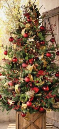 Rustic Christmas Tree~ 20 Awesome #ChristmasTree Decorating Ideas & Inspirations - Style Estate -