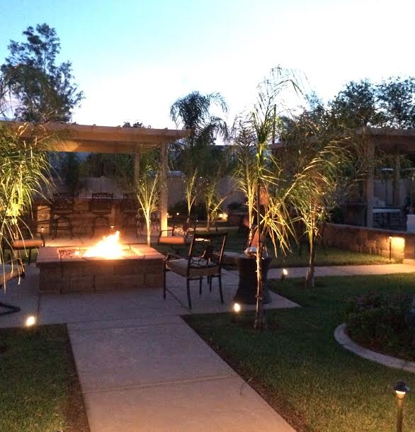 When the sun sets, relax next to our fire pit