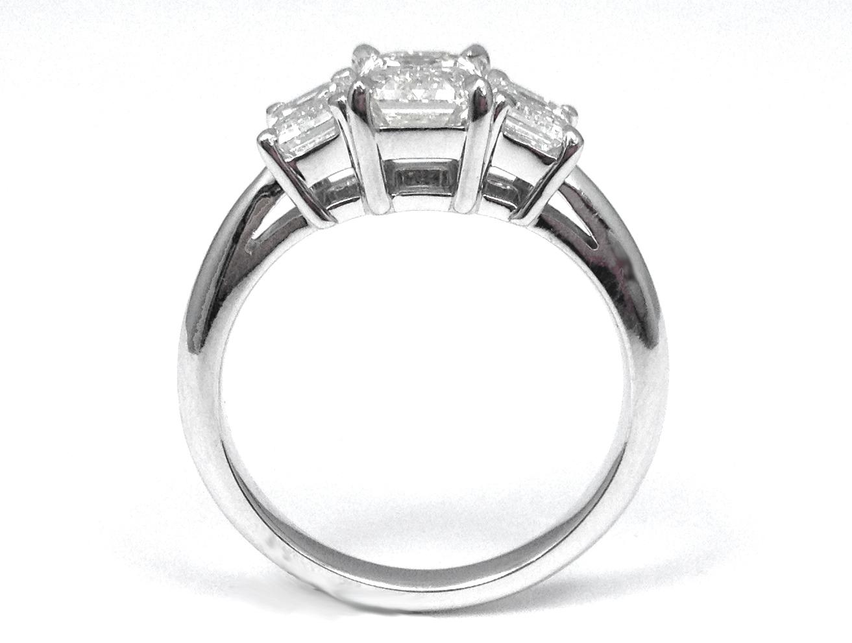 Engagement Ring 3 Stone Emerald Cut Diamond Engagement