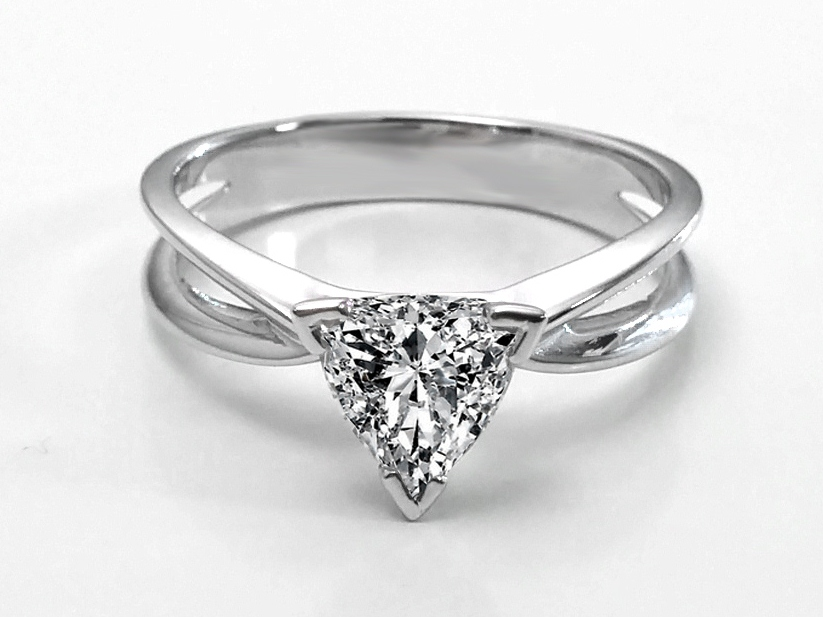 Engagement Ring Trillion Diamond Solitaire Concave