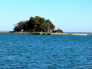 A hunting lodge on an island in Chincoteague Bay