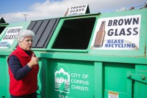Mayor Nelda Martinez gives the thumbs up to the recycling effort.