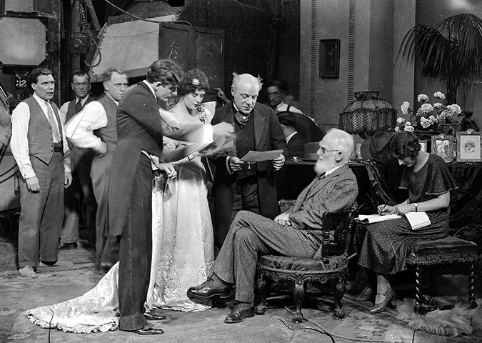 George Bernard Show talking to an early cast of