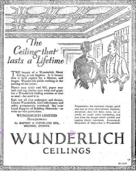 Wunderlich pressed metal was used extensively at the time for interior decoration