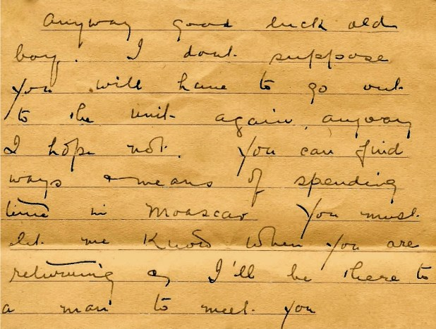 A letter written to Captain Hutching's son who was in Egypt.