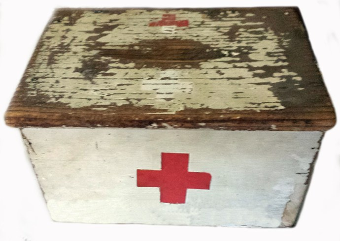Red Cross donation box . this artefact is featured in our current exhibition.