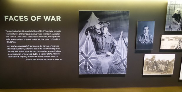 Faces of war - the full quote in this image is really worth reading and thinking about. The way the museum has used these